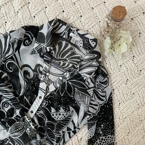 Caché | Black and White Floral Sheer Top